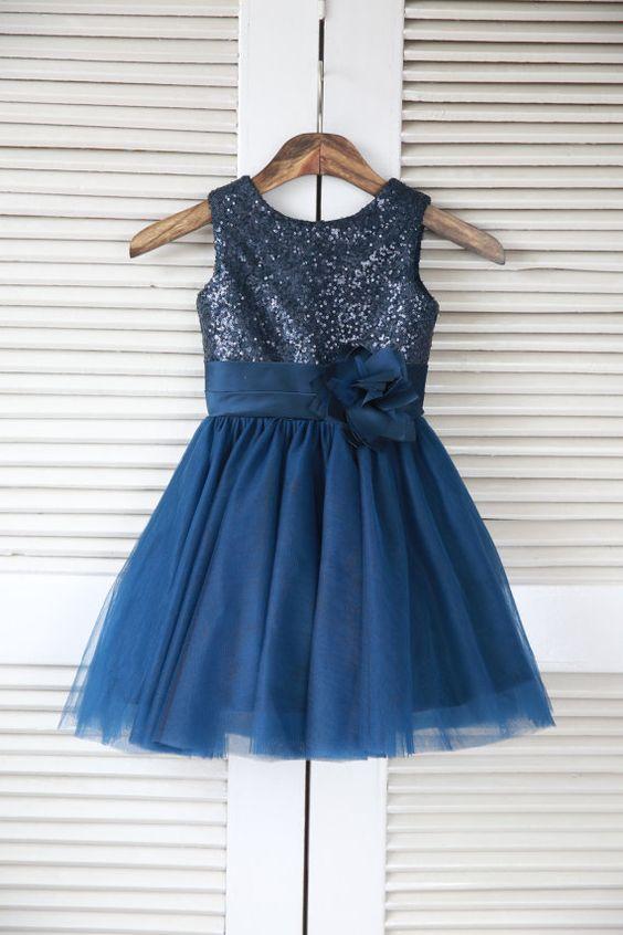 Silver/Pink/Navy Blue/Blush/White Sequin Tulle Flower Girl Dress ...