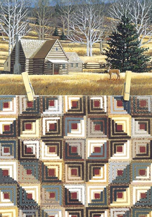 LOG CABIN QUILTSCAPE These are cards that I absolutely love! I am mesmerized by them!