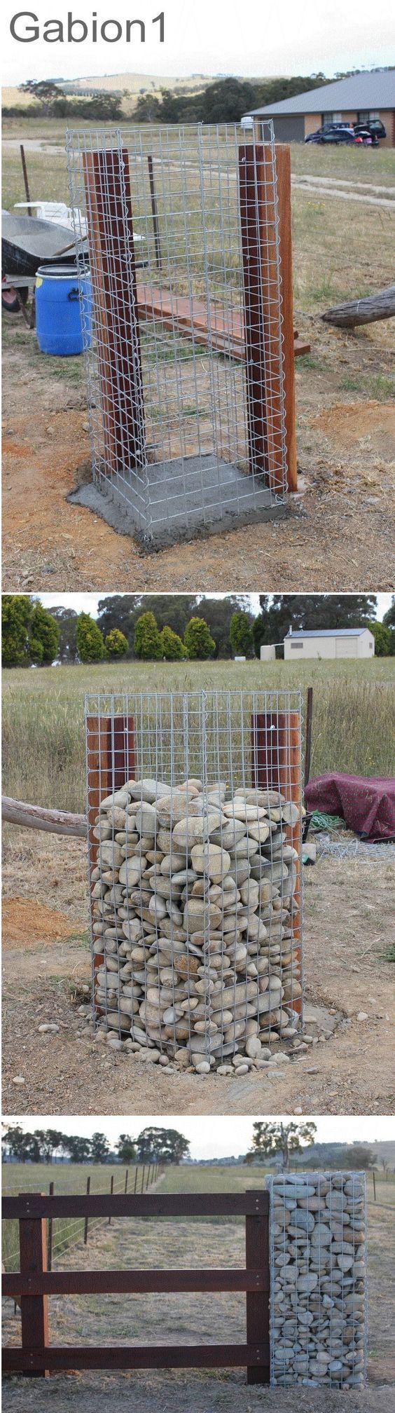 Construction Of A Stone Pillar : Gabion gate column construction sequence http