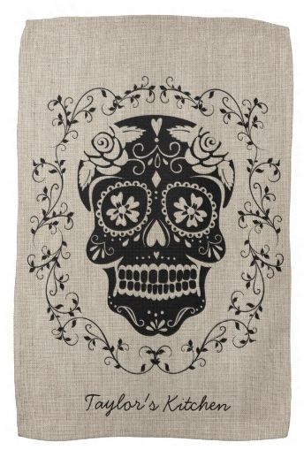 Day of The Dead Kitchen towel.  #sugar_skull #skull #halloween #day_of_the_dead #dia_de_los_muertos