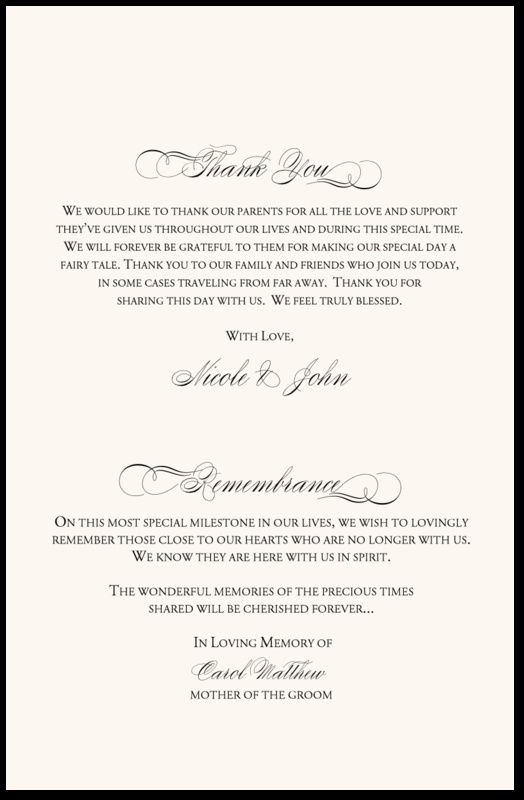 in remembrance wedding program wedding program thank you With wedding ceremony remembrance wording