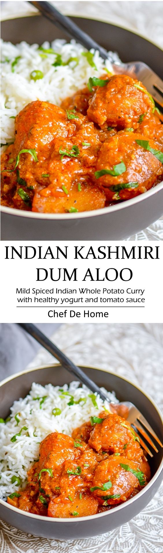 Delicious Indian dinner with easy potato curry called Kashmiri Dum Aloo - a yogurt base and lite spices make scrumptious base and served with lite rice and green peas pilaf | chefdehome.com