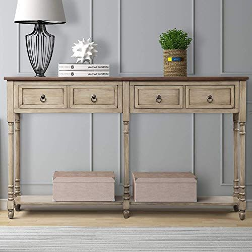 New Mieres 1 Sofa Storage Console Entryway With Drawers And Shelf Rectangular Living Room Table Solid Wood L Sofa Table With Storage Console Table Wood Console