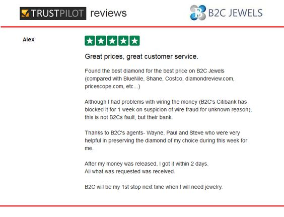 B2C Jewels Review on Trust Pilot by Alex