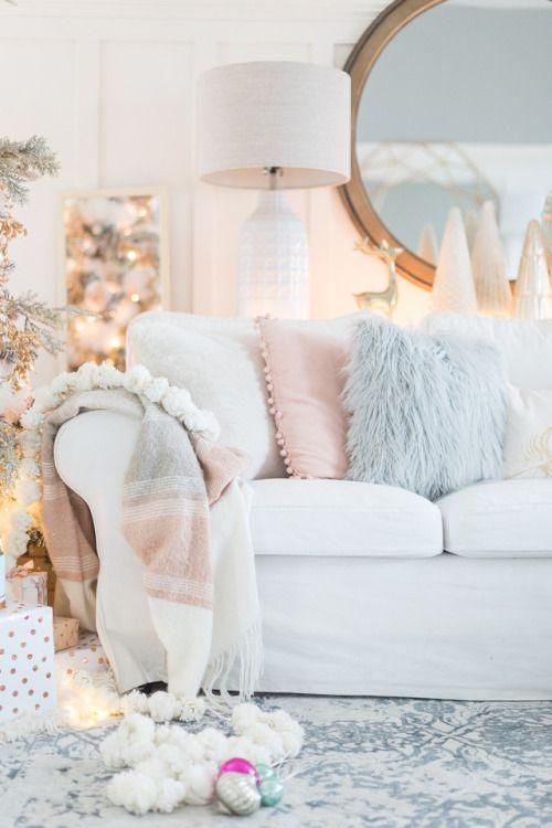 Au Chalet Http Www Craftberrybush Com 2017 11 Pastel Christmas The Enchanted Cove Pastel Christmas Decor Pastel Living Room Pastel Home Decor