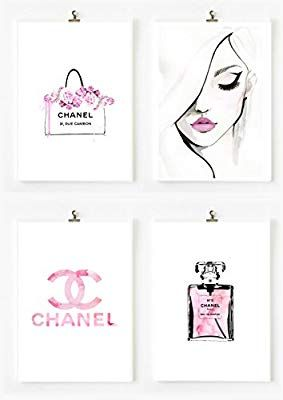 Amazon Com 8 5x11 Set Of 4 Coco Chanel Logo Splash Black Watercolor Art Print Wall Art Poster Fashion Artwork Poster Wall Art Fashion Artwork Wall Art Prints