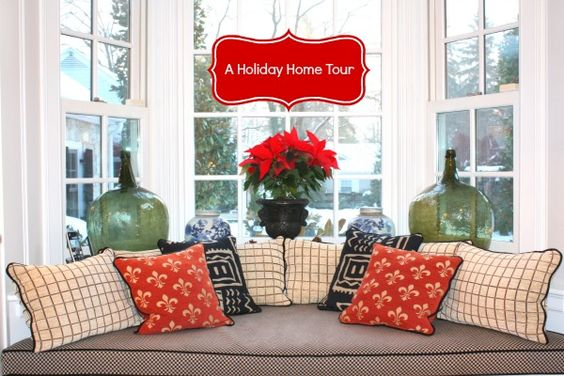 A Holiday Home Tour with easy holiday decorating ideas using fresh greenery and seasonal flowers