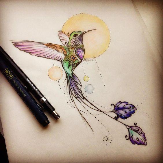 Colibri Y Sol Pintura Hummingbird And Sun Painting Tatuajes