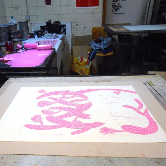 New Woodcut with horses  and pink cactus