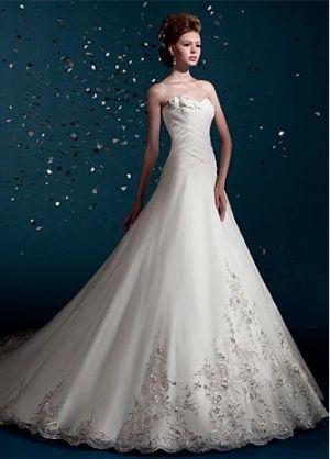 Buy discount Elegant Satin Charming A-line Bateau Neckline Raised Waist Wedding Dress at Dressilyme.com by Dressilyme.com