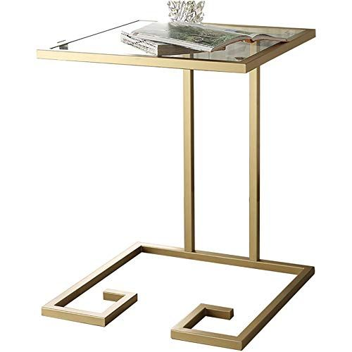 Xiaoyan End Table Iron Glass Coffee Table Creative Living Room