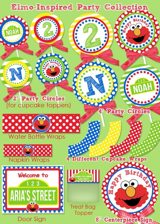 Elmo birthday decorations elmo party banner sesame for 1st birthday decoration packs