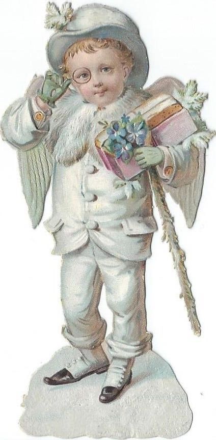 Oblaten Glanzbild scrap die cut  Engel  11cm angel Winter Schnee Mantel coat: