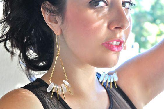 Rose Quartz Gold Dagger Earrings - Golden Plume Handmade Jewelry