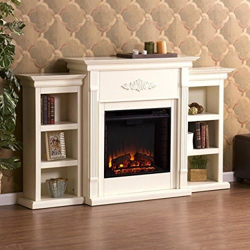Southern Enterprises Tennyson Electric Fireplace With Bookcase Ivory Finish Fireplace Bookcase White Electric