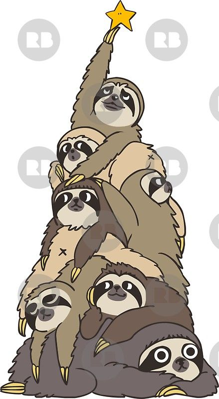 Christmas Tree Sloths Sticker By Huebucket Sloth Art Tree Sloth Christmas Sloth