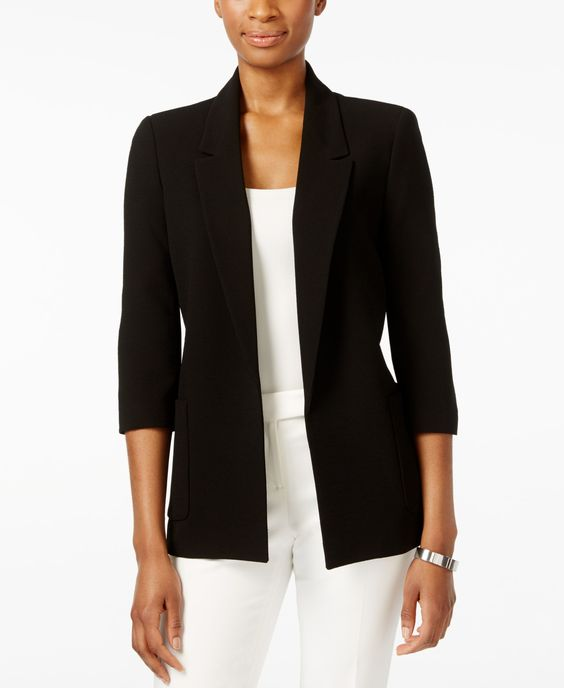Nine West Textured Crepe Notched-Lapel Open-Front Jacket