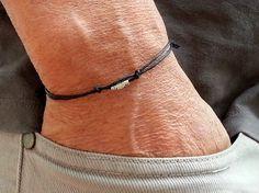 pulsera de los hombres de plata tubo con cordón de por BelovedMens