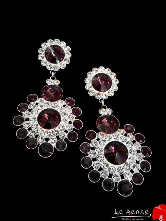 earring with clear white and amethyst crystalswedding by Lesense, $59.00