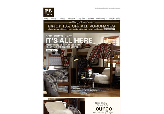 pbteen - Best. Dorm. Ever. 10% off too! on Mon, May 06 2013