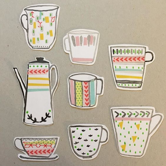 A full set of teacups combining drawing and tape #washitape #cupoftea #teapot #collage #painting #illustration by sallypayne_design