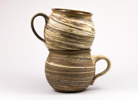 Set 2 Tassen, Keramik, handgetöpfert