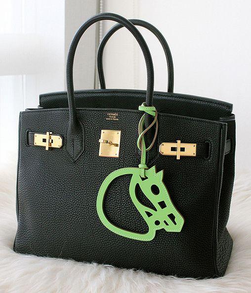 herme birkin - Black Hermes Birkin bag and green cut out horse head charm ...