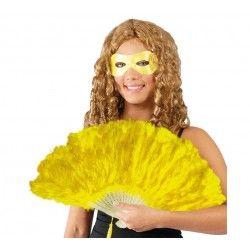 Abanico amarillo de plumas. Encuentra tu complemento perfecto para tu disfraz en mercadisfraces.es tu tienda de disfraces online.