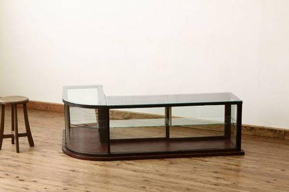 A17845アンティーク古いタバコ屋の重厚なR型ガラスケース インテリア 雑貨 家具 Antique glass case ¥98000yen 〆04月30日