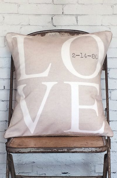 Personalized LOVE Wedding Pillow Anniversary Gift Cotton and Burlap