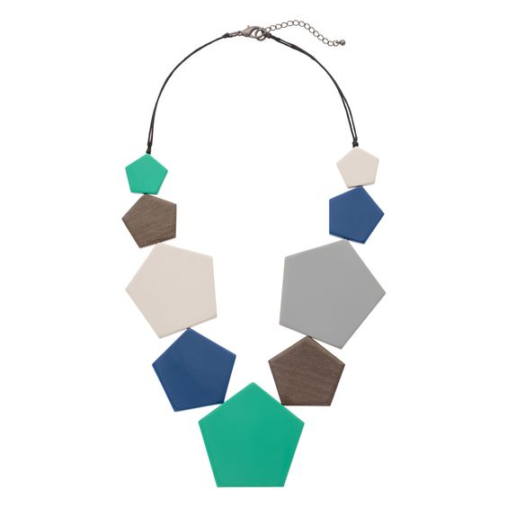 Multi Pentagonal Geo Necklace | The o'jays, Blue and Necklaces