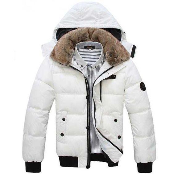 Doudoune Homme Sport chic luxe fourrure parka fashion Blanche