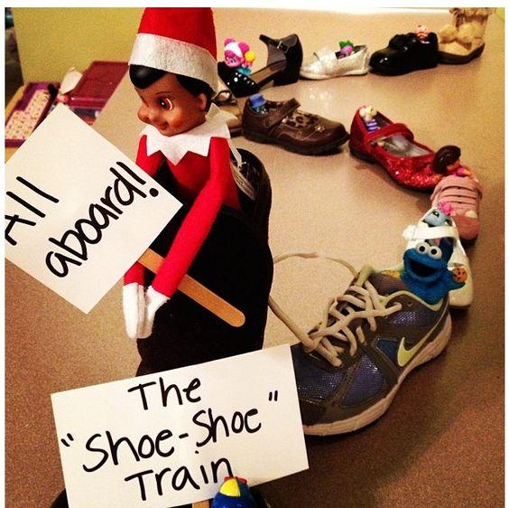 "Shoe-shoe train! - Elf on the Shelf says ""All Aboard""...."