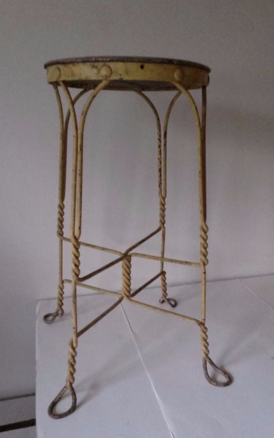 Antique Twisted Wrought Iron Amp Wood Stool Ice Cream Parlor