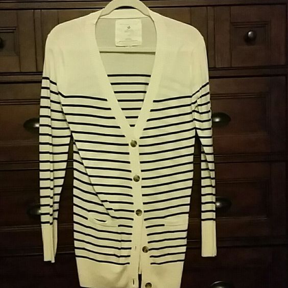 Navy and white striped cardigan Long striped cardigan. Gently worn aerie Sweaters Cardigans