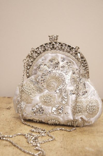 vintage silver and diamond purse