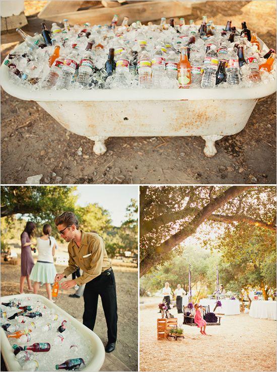 vintage bathtub full of drinks. cute stuff.