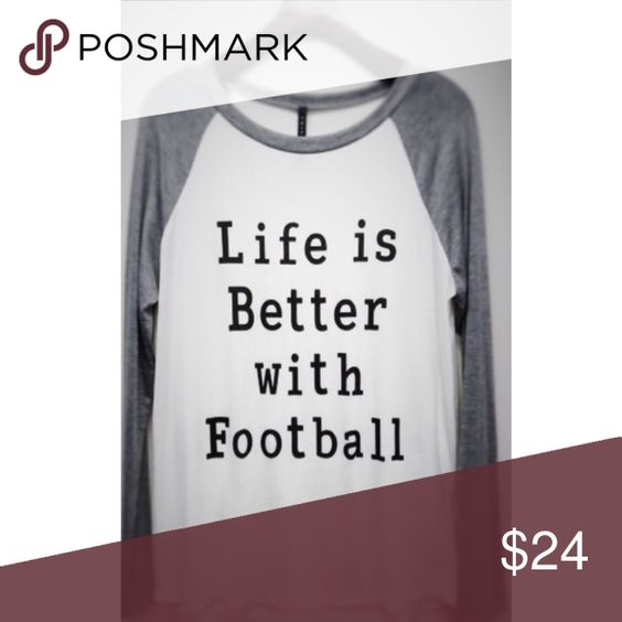 SMALL LIFE IS BETTER WITH FOOTBALL SHIRT SMALL LIFE IS BETTER WITH FOOTBALL SHIRT, baseball style shirt, great for Monday night football, parties, tailgating, gifts Tops Tees - Long Sleeve
