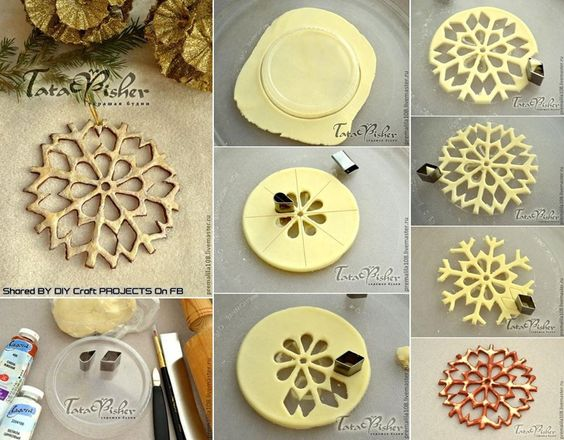 DIY Salt Dough Snow Flakes