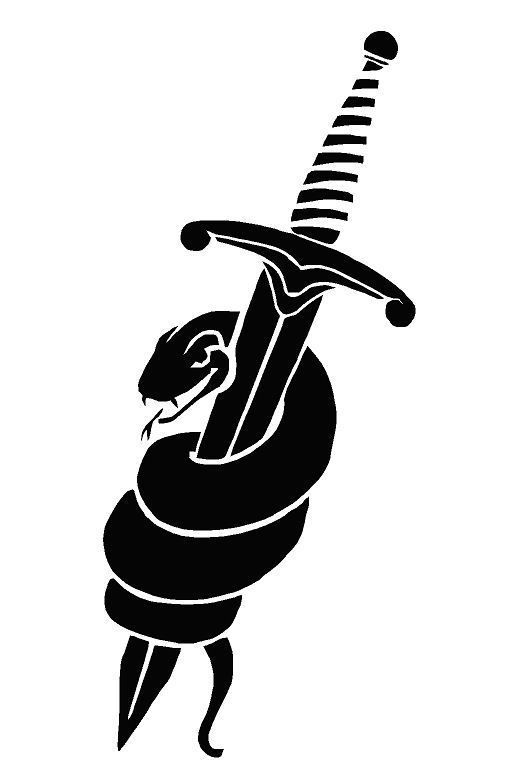 Dagger and black mamba snake tattoo design right upper for Black mamba tattoo