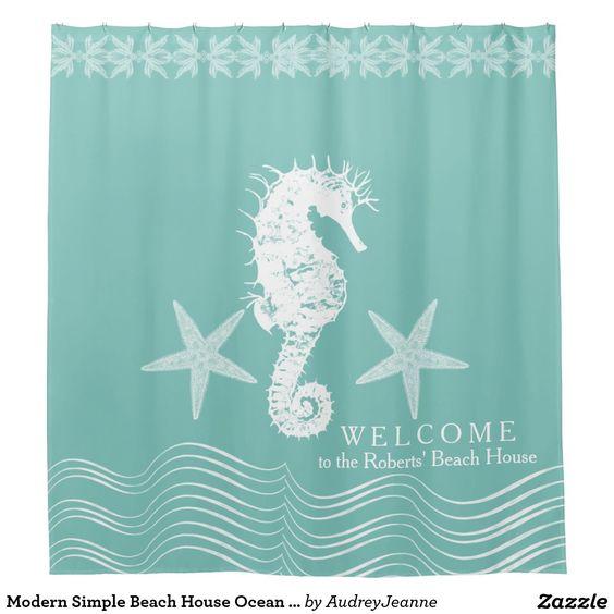 Modern Simple Beach House Ocean Seahorse Starfish Shower Curtain ...