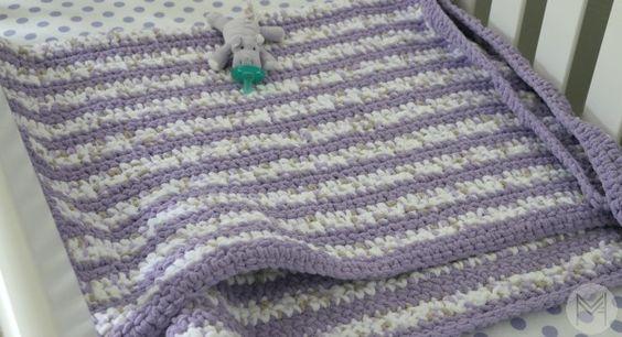Beginner Crochet Stripes Baby Blanket with Border Tutorial ...
