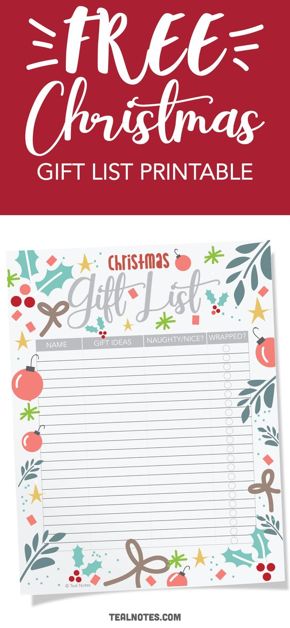 Free Christmas gift list printable. Make a list of all the gifts you're giving this year to make Christmas gift giving a breeze!