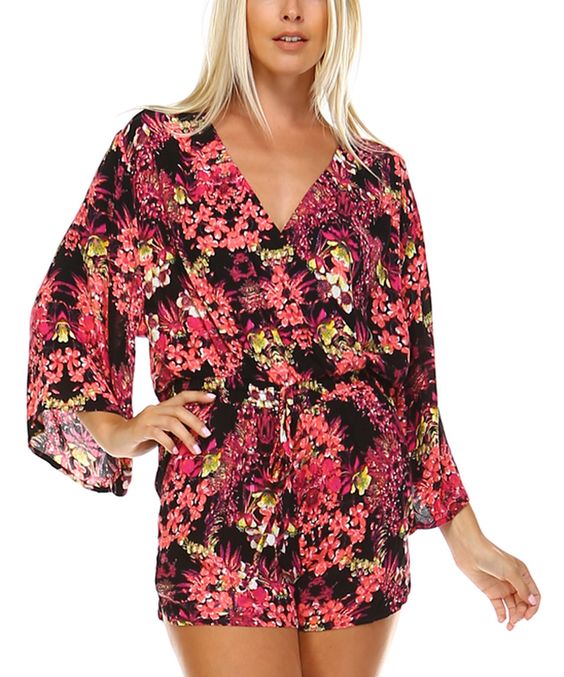 Love this Pink Floral Surplice Romper by Marcelle Margaux on #zulily! #zulilyfinds