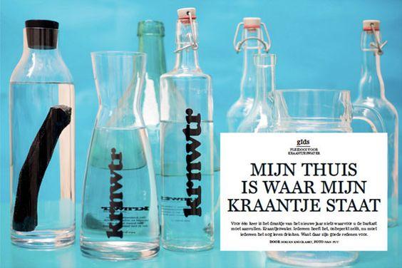 """""""De flessen van KRNWTR zijn zo leuk dat je ze altijd op tafel wilt laten staan, zelfs als je bezoek hebt.""""  - DeStandaard Magazine"""