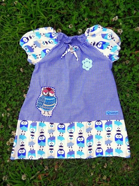 Vogel Bird Kleid Tunika Eulen kariert blau Uhu von Zellmann Fashion auf DaWanda.com