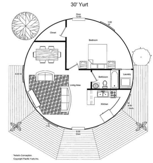 Sample possible floor plan for the largest Pacfic Yurt yurt: