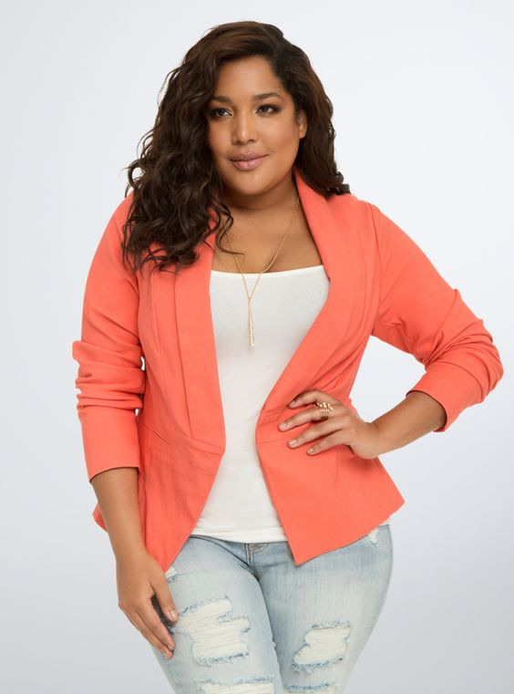 Plus Size Blazer - Plus Size Cut Away Fit Blazer