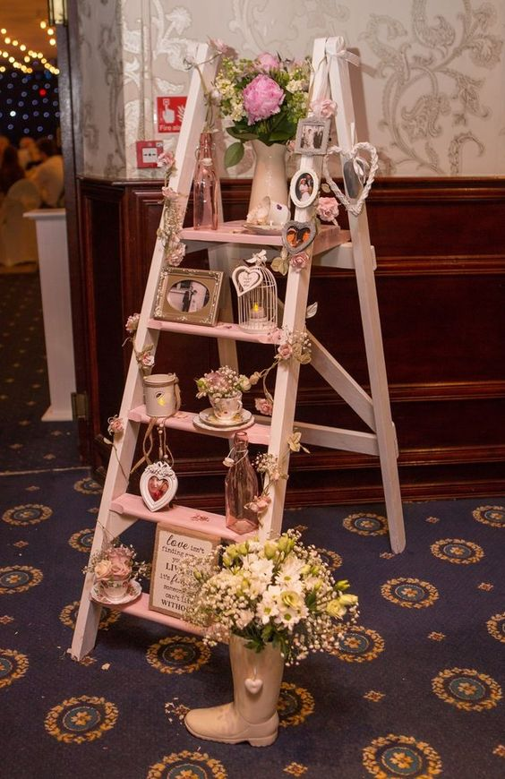 Vintage Wooden Step Ladder Wedding Prop Decoration