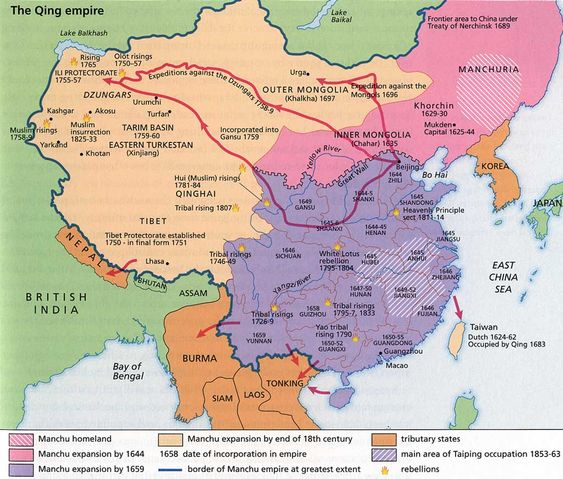 (1644-1850) Expansion and internal rebellions of the Qing Dynasty.
